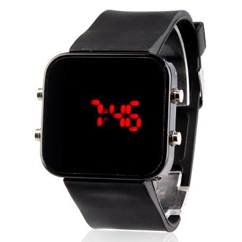 LightInTheBox Unisex Red LED Jumbo square Spiegel Gesichts Silikon Band Armbanduhr schwarz