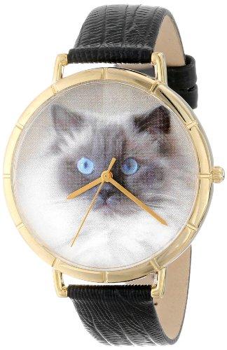 Drollige Uhren Motiv Ragdoll Katze schwarz Leder und goldfarbener Photo Unisex Quartz Uhr mit weissem Zifferblatt Analog Anzeige und N 0120049 Mehrfarbige Lederband