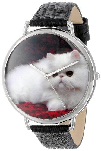 Drollige Uhren Perser Katze Schwarz silberfarben Unisex Quartz Uhr mit weissem Zifferblatt Analog Anzeige und T 0120025 Mehrfarbige Lederband