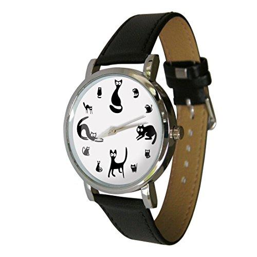 Niedliche Katzen Design Fashion Uhr C1 Der perfekte Katzenliebhaber Geschenk Echtes Leder Gurt