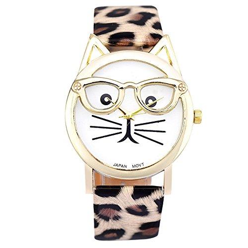 SSITG Cute Glasses Cat Women Analog Quartz Armband Uhr Wrist Watch Geschenk Gift S05374