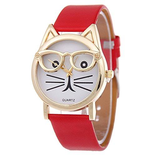 SSITG Cute Glasses Cat Women Analog Quartz Armband Uhr Wrist Watch Geschenk Gift S05377