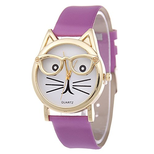 SSITG Cute Glasses Cat Women Analog Quartz Armband Uhr Wrist Watch Geschenk Gift S05376