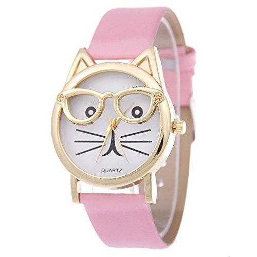 SSITG Cute Glasses Cat Women Analog Quartz Armband Uhr Wrist Watch Geschenk Gift S05375