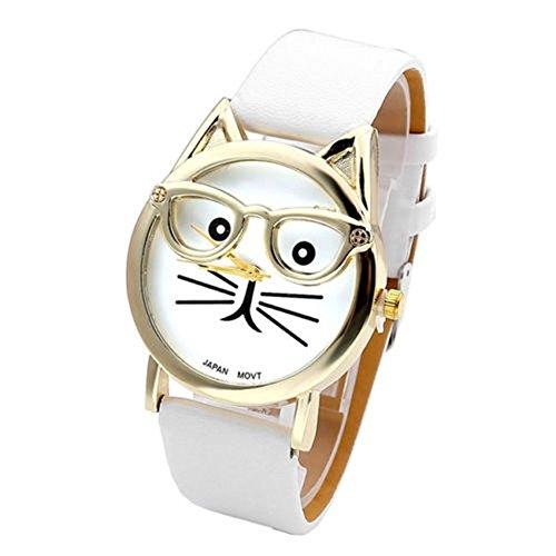 SSITG Cute Glasses Cat Women Analog Quartz Armband Uhr Wrist Watch Geschenk Gift S05378