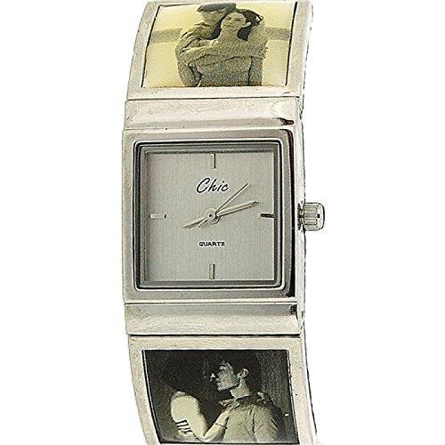 CHIC Analoge Damen Metall Armbanduhr Love Romance mit silberfarbenem quadratischem Ziffernblatt