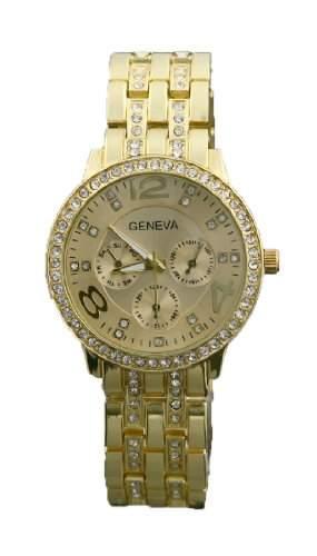 CHIC*MALL New Fashion Genf Lady Damen Unisex-Kristalledelstahl-Quarz-Armbanduhr Gold