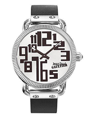 Armbanduhr Herren Jean Paul Gaultier Index Stahl Armband Leder Schwarz 45 mm 8504405