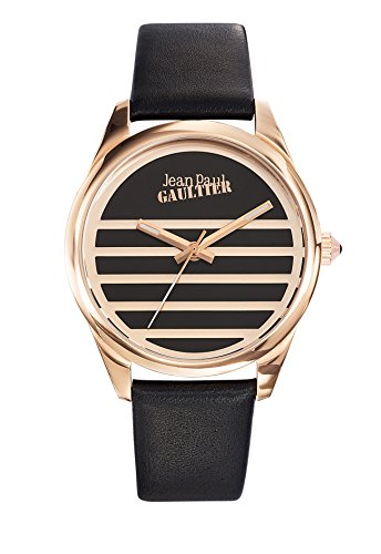 Zeigt Damen Jean Paul Gaultier Navy Stahl PVD rose Armband Leder Schwarz 37 mm 85012410