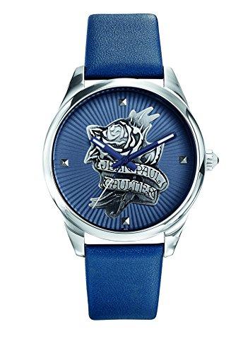 Zeigt Damen Jean Paul Gaultier Navy Tatoo Armband Leder Blau 37 mm 8502413