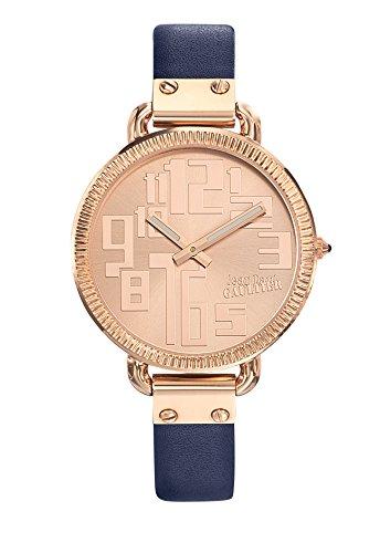 Zeigt Damen Jean Paul Gaultier Index Stahl PVD rose Armband Leder Blau 36 mm 8504306