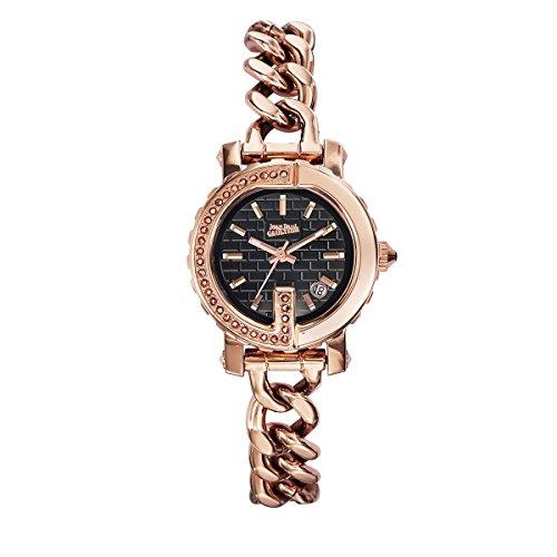 Uhren Damen Jean Paul Gaultier G Punkt Mini Stahl PVD rose Steine Armband Stahl PVD rose Leder schwarz 28 mm 8503603