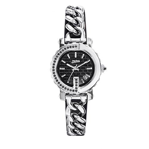 Zeigt Damen Jean Paul Gaultier G Punkt Mini Stahl Steine Armband Stahl Leder Schwarz 8503602