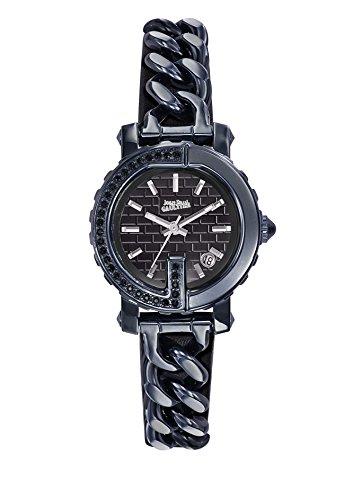 Zeigt Damen Jean Paul Gaultier G Punkt Mini Stahl PVD Blau Steine Armband Stahl PVD Leder schwarz 28 mm 8503601