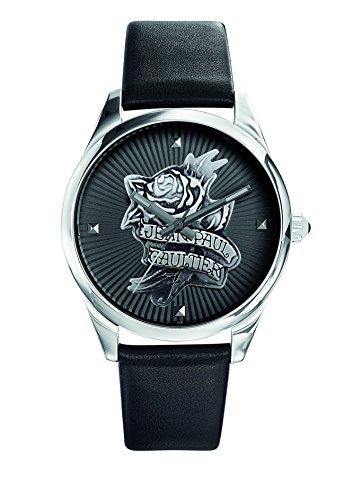 Zeigt Damen Jean Paul Gaultier Navy Tatoo Armband Leder Schwarz 37 mm 8502412