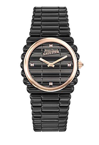 Zeigt Damen Jean Paul Gaultier Rand Kueste Armband Stahl PVD schwarz Zifferblatt rose 34 mm 8504104