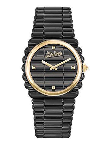 Zeigt Damen Jean Paul Gaultier Rand Kueste Armband Stahl PVD schwarz Zifferblatt Gold 34 mm 8504105