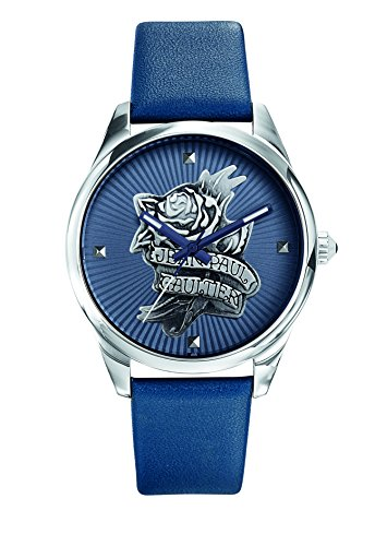 Zeigt Damen Jean Paul Gaultier Navy Tatoo Armband Leder Blau 37 mm 8502413