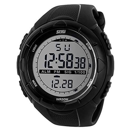 skmei Neue Art und Weise Maenner LCD Digital Stoppuhr Datum wasserdicht Gummi-Sport-Armbanduhr Schwarz