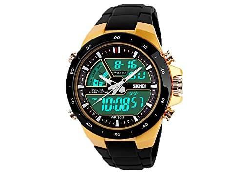 SKMEI 5ATM wasserfest, LCD, Digital, Herren, Chronograph, Stoppuhr, Datum, Alarm Freizeit Sport-Armbanduhr fuer 2 Zeitzonen