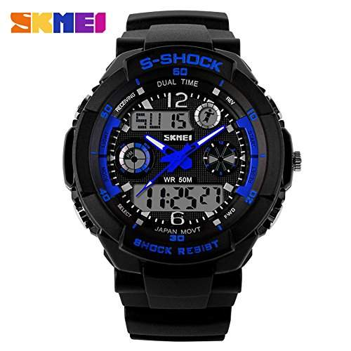 SKMEI 5ATM wasserdicht Fashion-Men LCD Digital Stoppuhr, Alarm Chronograph Datum Zeit Casual Armbanduhr Sport 2 Zone