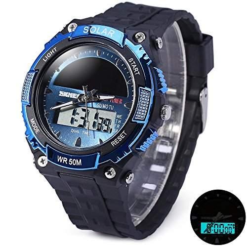 Skmei 1049 Solarkraft Armee LED Uhr Datum Wochen Dual movt 5ATM Wasserdicht Military Armbanduhr fuer  Sport blau