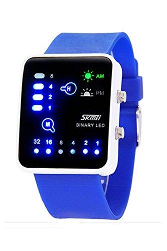 Armbanduhr SKMEI Unisex Binaerzahl Blau LED Licht Silikon Band Uhr Quarz fuer Maenner und Frauen Dunkelblau