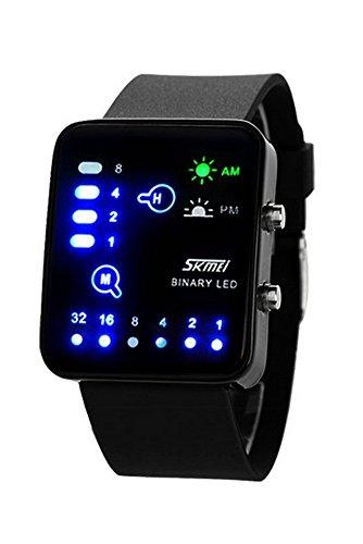 Armbanduhr SKMEI Unisex Binaerzahl Blau LED Licht Silikon Band Uhr Quarz fuer Maenner und Frauen Schwarz