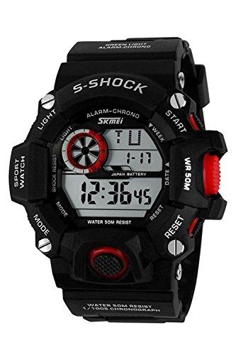 Armbanduhr Skmei Maenner Super Multifunktion Militaere Digitale Wasserdichte Sport Armbanduhr Schwarz Rot
