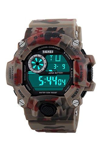 Armbanduhr Skmei Maenner Super Multifunktion Militaere Digitale Wasserdichte Sport Armbanduhr rote Tarnung