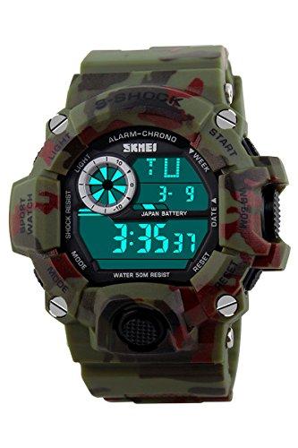 Armbanduhr Skmei Maenner Super Multifunktion Militaere Digitale Wasserdichte Sport Armbanduhr gruene Tarnung