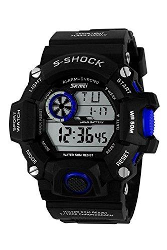 Armbanduhr Skmei Maenner Super Multifunktion Militaere Digitale Wasserdichte Sport Armbanduhr Schwarz Blau