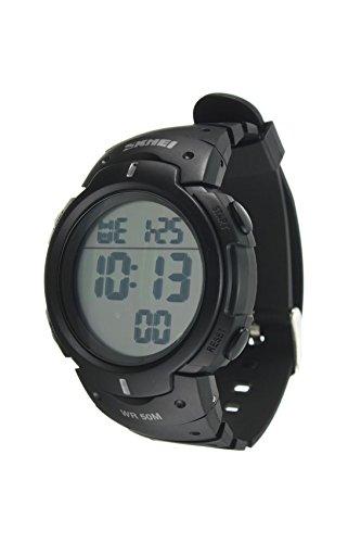 Armbanduhr SKMEI Wasserdichte LED Licht Digitale Datum Alarm Armbanduhr fuer Maenner Frauen als Sport Geschenk Weiss