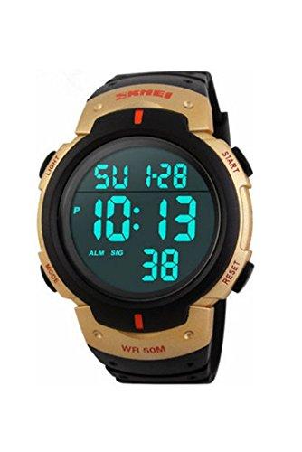 Armbanduhr SKMEI Wasserdichte LED Licht Digitale Datum Alarm Armbanduhr fuer Maenner Frauen als Sport Geschenk Gold