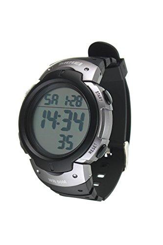 Armbanduhr SKMEI Wasserdichte LED Licht Digitale Datum Alarm Armbanduhr fuer Maenner Frauen als Sport Geschenk Titan Farbe
