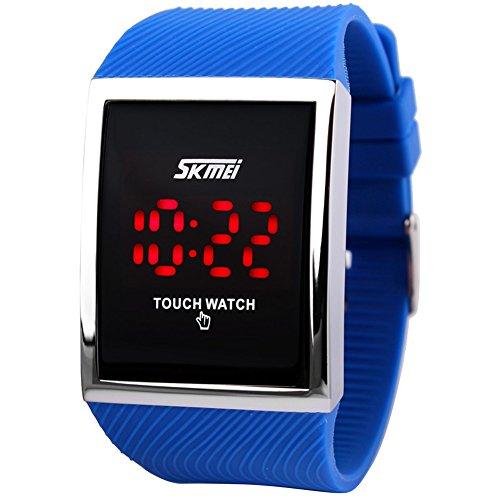 Skmei Digitale LED Armbanduhr Touchscreen wasserdicht fuer Jungen und Maedchen Blau