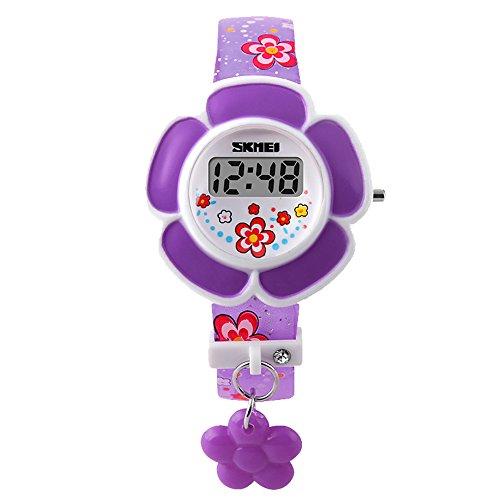 Skmei Kinder Uhren Kinder Maedchen Einzigartige Blumenform Zifferblatt Sport digitale Armbanduhr fuer die Jugend