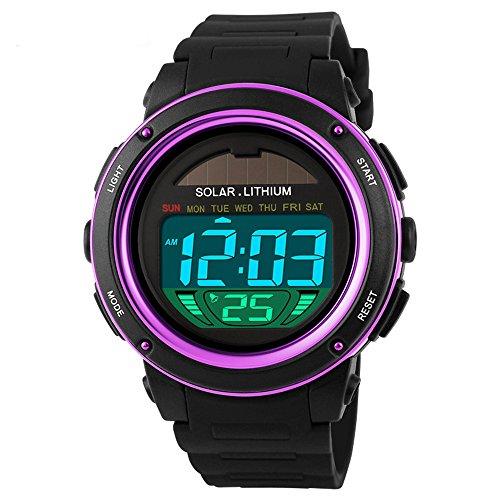 Farsler Kids Boys Girls Womens Lovely Digital Led Back Light Watches Week Alarm Chronograph Wrist Watch Purple