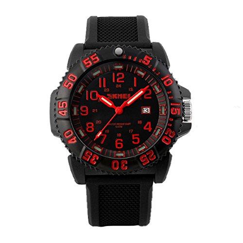 SKMEI Mode Maenner wasserdichte Militaeruhren Analog Datum Sport Silikon Uhr Rot