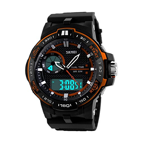 SKMEI Maenner Sport im Freien wasserdichte LED Dual elektronische Anzeige Uhren Orange
