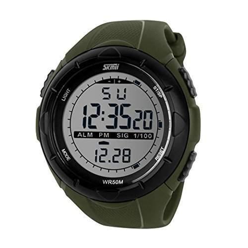 Tangda SKMEI Herren Armbanduhr Studenten Armband Uhr Militaer Sport Uhren Big Face Schule Uhr Quarzuhr - Gruen