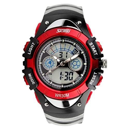 Tangda SKMEI Kinder Armbanduhr Maedchen Wandern Armband Uhr Elektronische Sport Uhren Wasserdichte Schule Uhr Quarzuhr - Rot