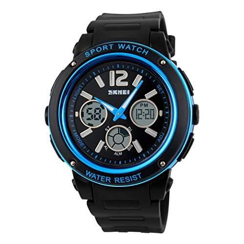 Tangda SKMEI Damen Herren Unisex Armbanduhr Elektronische Sport Uhren Wasserdichte Schule Uhr Child Watch Quarzuhr - Blau