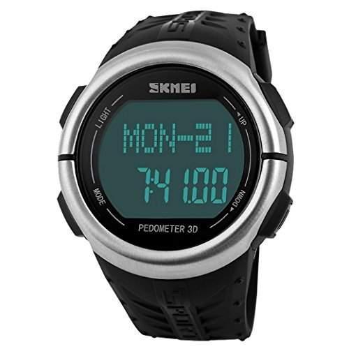 Tangda SKMEI Damen Herren Unisex Armbanduhr LCD Multifunktions Schrittzaehler 3D Sport Armband Uhr Pulsuhr Child Watch Quarzuhr - Schwarz