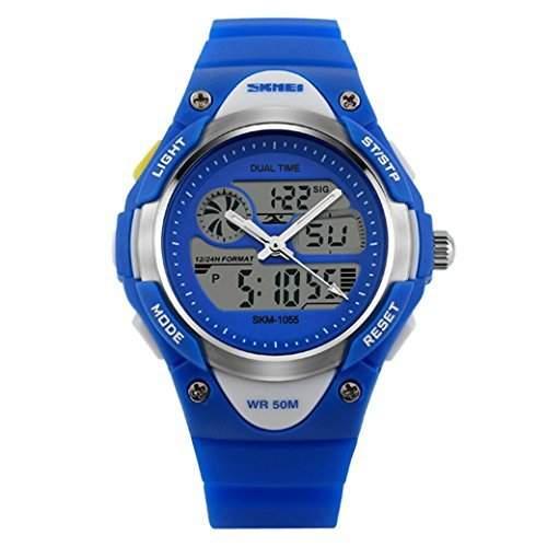 Tangda SKMEI Damen Herren Unisex Armbanduhr Digital LCD Elektronische Sport Uhren Wasserdichte Schule Uhr Child Watch Quarzuhr - Blau