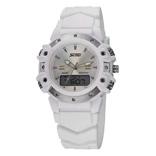 Tangda SKMEI Damen Herren Unisex Armbanduhr Dual Display Sport Uhren Wasserdichte Wrist Watch Quarzuhr - Weiss