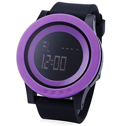 Leopard Shop SKMEI 1142 Herren Sport LED Running Armbanduhr Wasser Widerstand schwarz violett