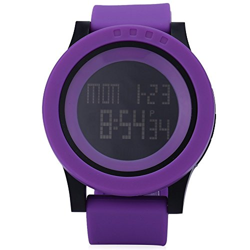 Leopard Shop SKMEI 1142 Herren Sport LED Running Armbanduhr Wasser Widerstand violett