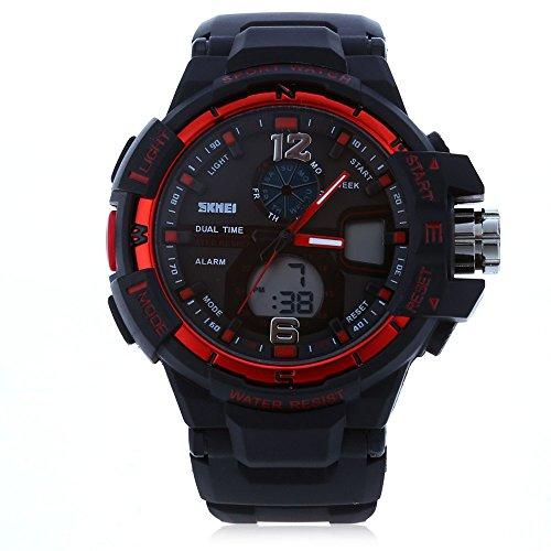 Leopard Shop SKMEI 1148 Herren LED Digital Quarz Sport Armbanduhr Dual Time Tag Alarm Licht Wasser Widerstand Armbanduhr Rot
