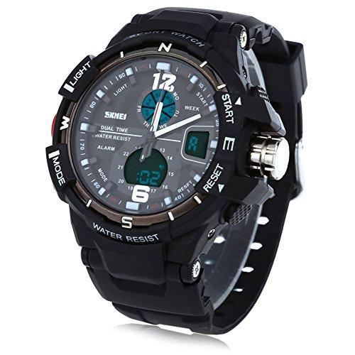 Leopard Shop SKMEI 1148 Herren LED Digital Quarz Sport Armbanduhr Dual Time Tag Alarm Licht Wasser Widerstand Armbanduhr Schwarz
